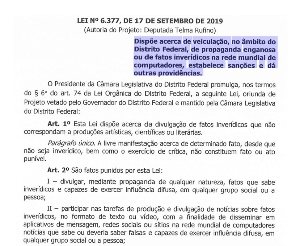 Lei promulgada pela CLDF autoriza punição de quem publicar fake news — Foto: CLDF/Reprodução