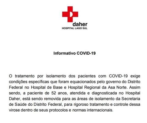 Hospital Daher divulga nota sobre caso de paciente com exame positivo para coronavírus no DF
